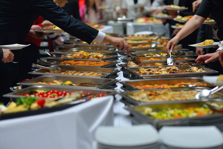 19774817 - people group catering buffet food indoor in luxury restaurant with meat colorful fruits  and vegetables