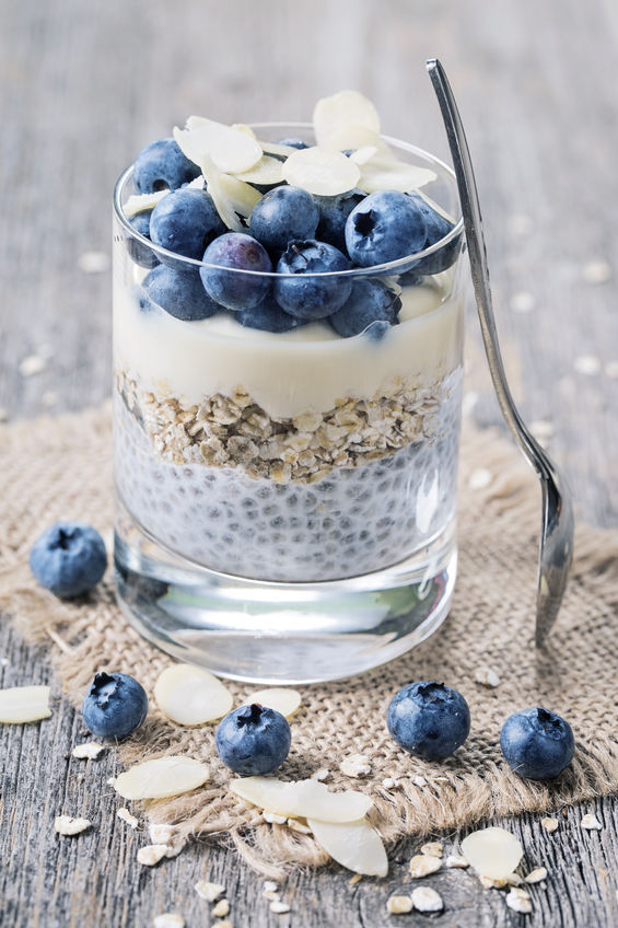 43825078 - chia seeds pudding with blueberries
